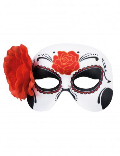 Maschera con rosa rossa Dia de los muertos-1