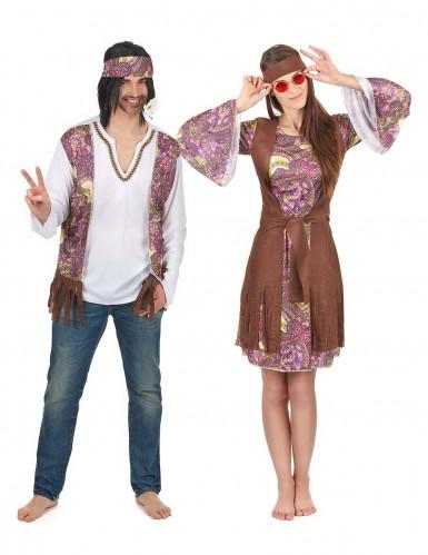Costume coppia Hippie viola adulto