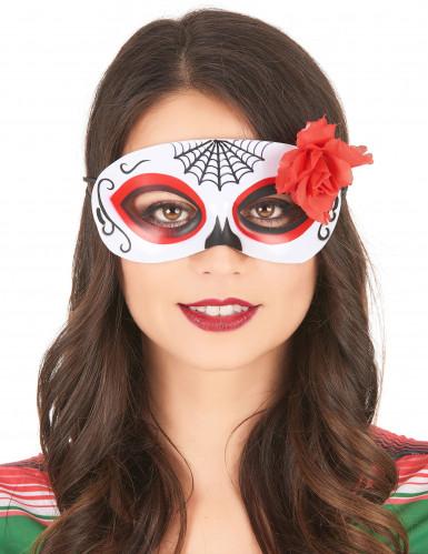 Maschera Dia de los muertos con rosa per donna