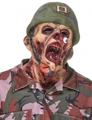 Maschera da soldato zombie in lattice per adulto