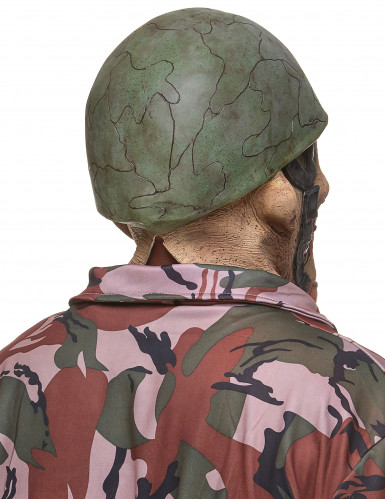 Maschera da soldato zombie in lattice per adulto-1