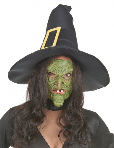 Mezza maschera da strega verde per Halloween