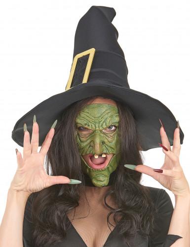 Mezza maschera da strega verde per Halloween-1