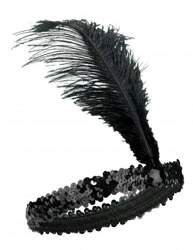Fascia Charleston elastica nera con piuma donna