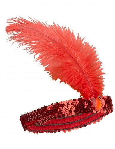 Fascia Charleston elastica con piuma e gemma rossa donna