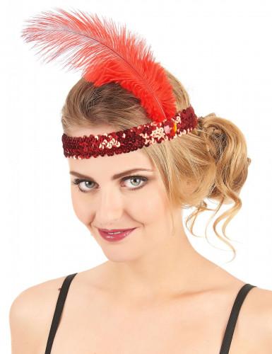 Fascia Charleston elastica con piuma e gemma rossa donna-1