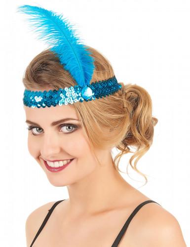Fascia Charleston con sequins e piuma blu donna-1