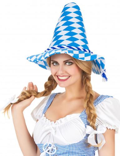Cappello bavarese bianco e blu adulto-1