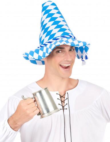 Cappello bavarese bianco e blu adulto-2