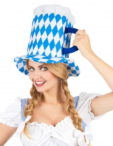 Cappello pinta di birra blu e bianco adulto-1