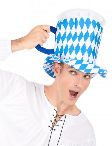 Cappello pinta di birra blu e bianco adulto-2