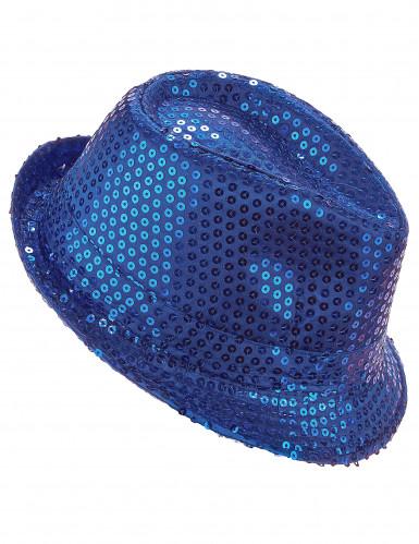 Cappello borsalino con paillettes blu per adulto