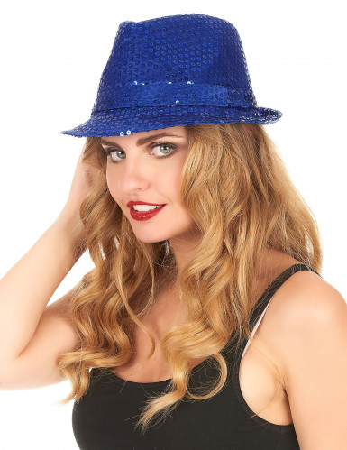 Cappello borsalino con paillettes blu per adulto-1