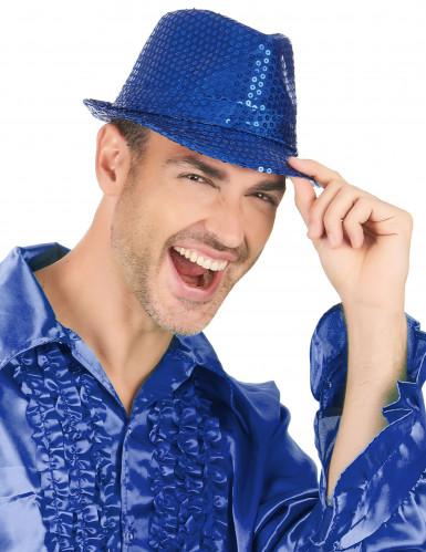 Cappello borsalino con paillettes blu per adulto-2