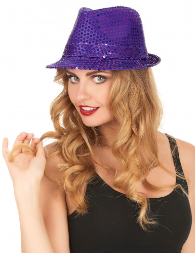 Cappello borsalino con lustrini viola adulto-1