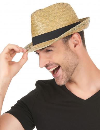 Cappello tipo borsalino paglia nature con fascia nera-2