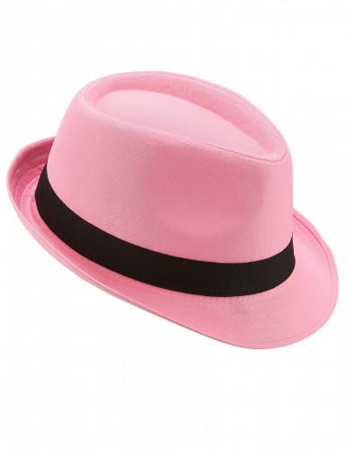 Cappellino borsalino rosa con banda nera adulti