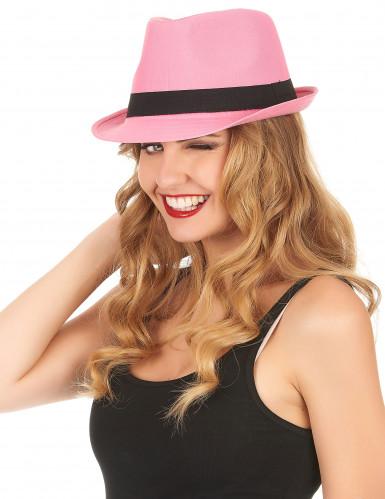 Cappellino borsalino rosa con banda nera adulti-1