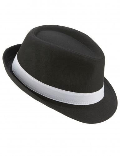 Cappello borsalino nero fascia bianca adulto
