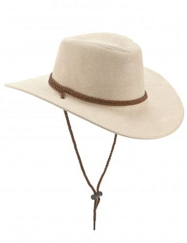 Cappello da cowboy scamosciato beige per adulto