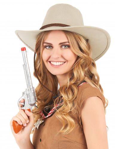 Cappello da cowboy scamosciato beige per adulto-1