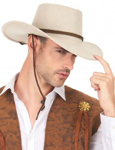 Cappello da cowboy scamosciato beige per adulto-2
