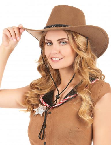 Cappello da cowboy scamosciato marrone per adulto-1