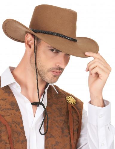 Cappello da cowboy scamosciato marrone per adulto-2