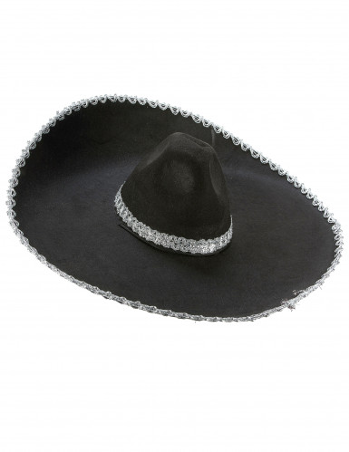 Sombrero nero con bordi argentati adulto