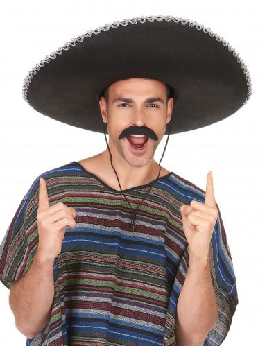 Sombrero nero con bordi argentati adulto-2