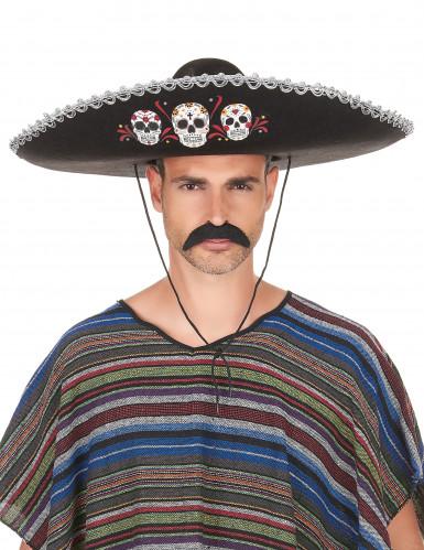 Sombrero nero e argento Dia de Los Muertos per adulto