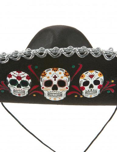 Sombrero nero e argento Dia de Los Muertos per adulto-1