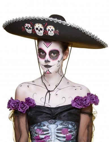 Sombrero nero e argento Dia de Los Muertos per adulto-3