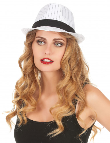 Cappello borsalino bianco con strisce nere adulto-1