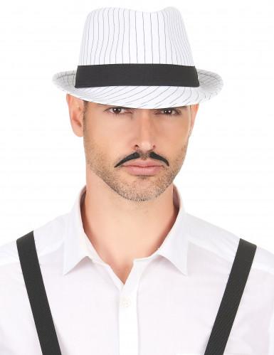 Cappello borsalino bianco con strisce nere adulto-2