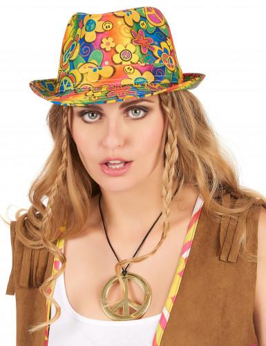 Cappello borsalino hippie a fiori adulto-1