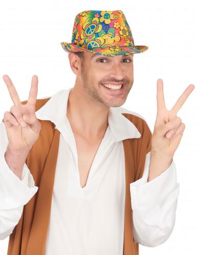 Cappello borsalino hippie a fiori adulto-2