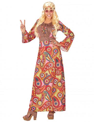 Costume abito lungo hippie multicolore Donna