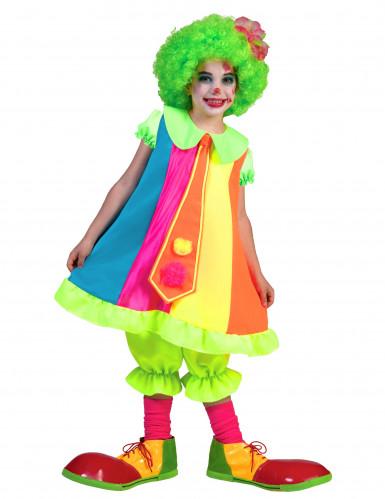Costume clown fluo da bambina