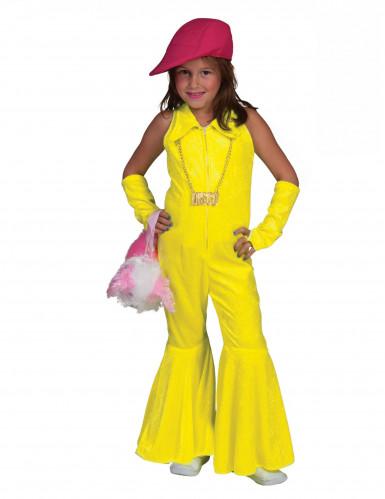 Costume anni '70 tuta gialla fluo bambina