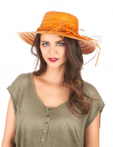 Cappello di paglia vintage arancione-1