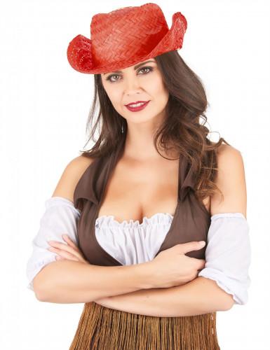 Cappello western di paglia rosso per adulto-1