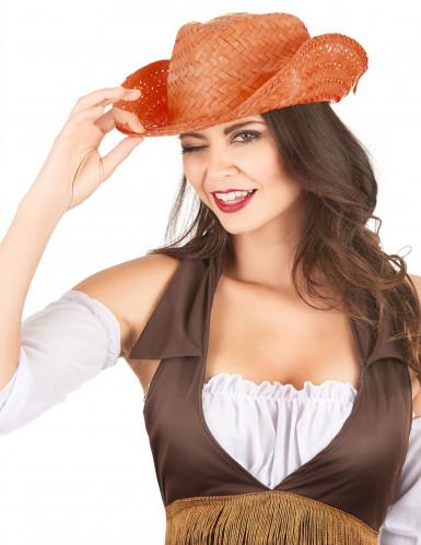 Cappello di paglia Western arancione adulto-1