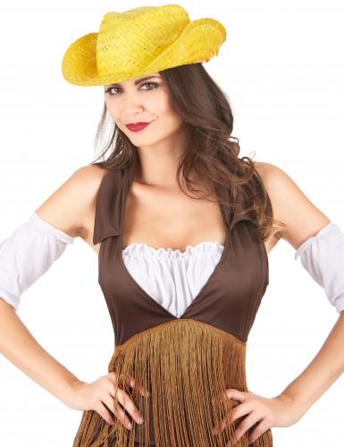 Cappello di paglia Western giallo adulto-1