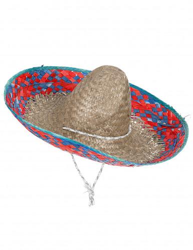 Sombrero messicano rosso e blu adulto