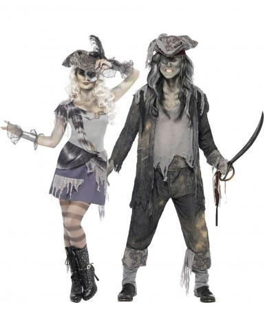Costume coppia pirati fantasmi Halloween