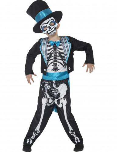 Costume da scheletro blu Dia de Los Muertos per bambino
