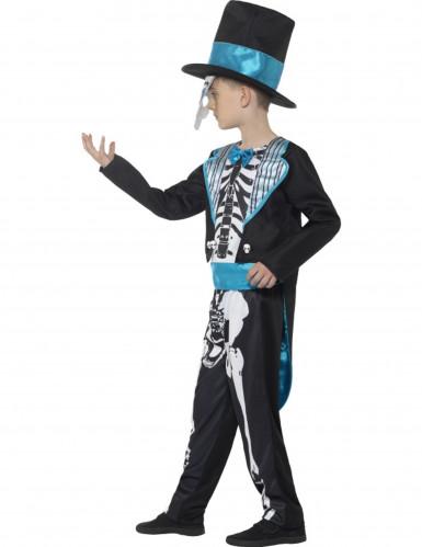 Costume da scheletro blu Dia de Los Muertos per bambino-2
