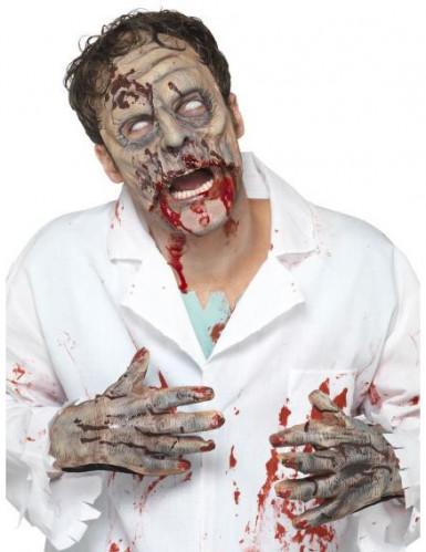 Kit lattice zombie maschera e mani adulto Halloween