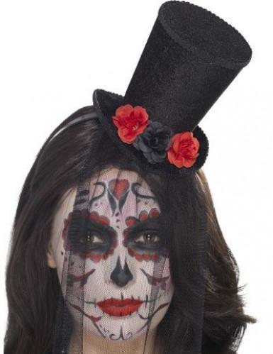 Mini cappello con rose e veletta donna Dia de los muertos